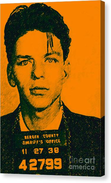 Andy Warhol Canvas Print - Mugshot Frank Sinatra V1 by Wingsdomain Art and Photography
