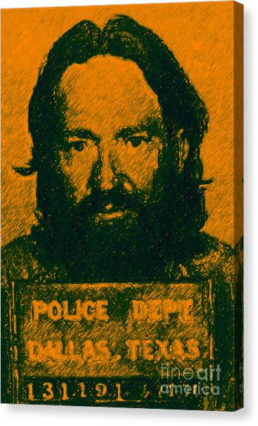 Mugshot Willie Nelson P0 Canvas Print