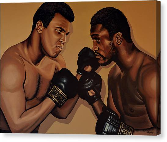 Boxers Canvas Print - Muhammad Ali And Joe Frazier by Paul Meijering