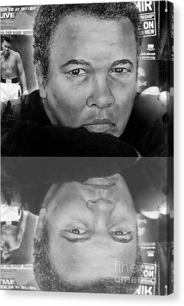 George Foreman Canvas Print - Muhammad Ali Formerly Known As Cassius Clay Version II With Reflection by Jim Fitzpatrick