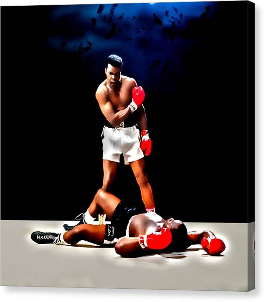 Joe Frazier Canvas Print - Muhammad Ali Get Up And Fight Sucker by Brian Reaves