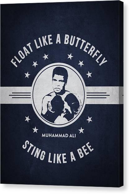 Muhammad Ali Canvas Print - Muhammad Ali - Navy Blue by Aged Pixel