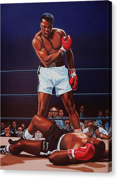 Boxers Canvas Print - Muhammad Ali Versus Sonny Liston by Paul Meijering