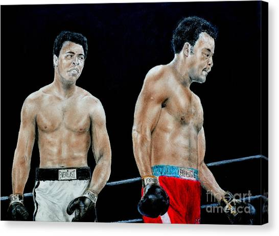 George Foreman Canvas Print - Muhammad Ali Vs George Foreman by Jim Fitzpatrick