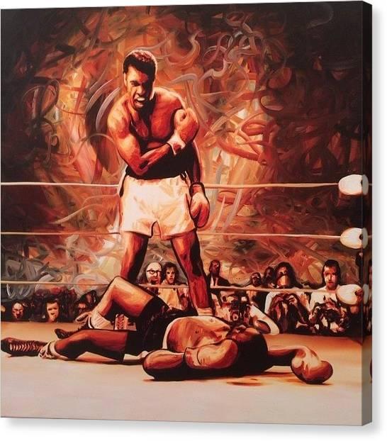 Fighting Canvas Print - Muhammad Ali Vs Sonny Liston May 25 by Ocean Clark