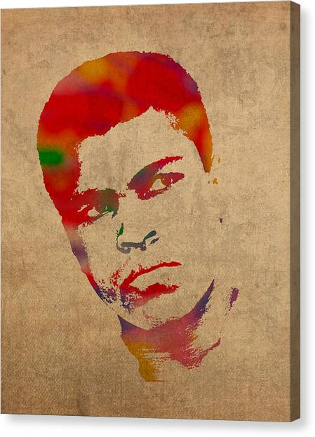 Muhammad Ali Canvas Print - Muhammad Ali Watercolor Portrait On Worn Distressed Canvas by Design Turnpike