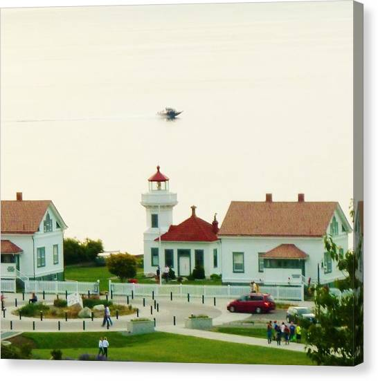 Mukilteo Lighthouse And The Lone Speedboat Canvas Print