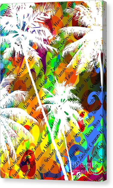 Tropical Plant Canvas Print - Multicolor Abstract Tropical Background by Yulianas