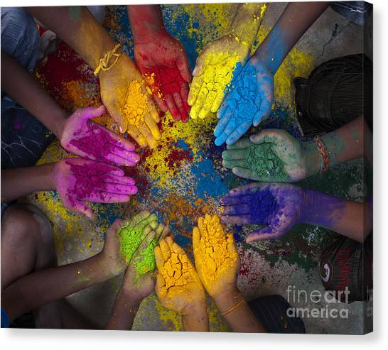 Multicoloured Hands Canvas Print