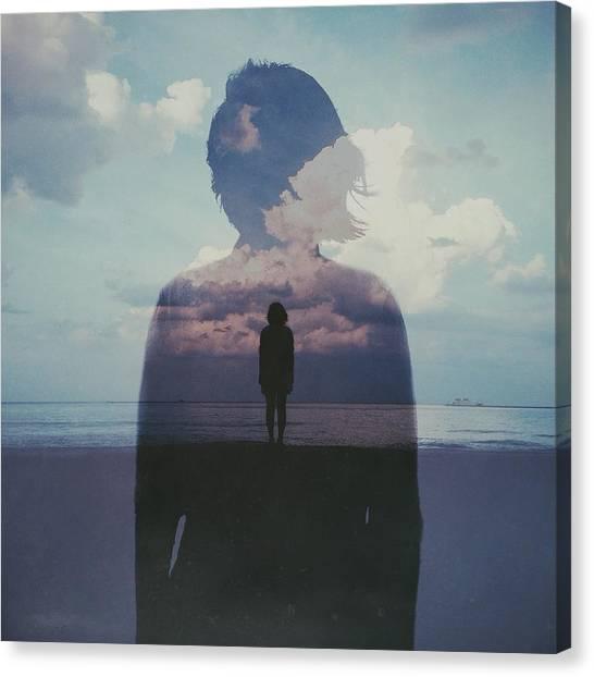 Multiple Exposure Of Woman On Beach Canvas Print by Chen Liu / Eyeem