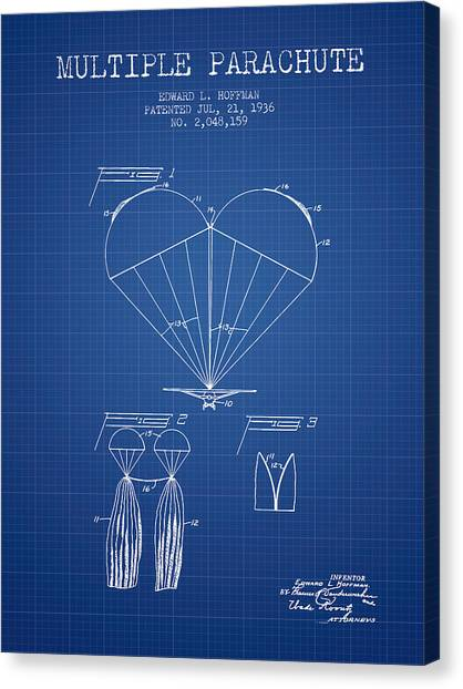 Skydiving Canvas Print - Multiple Parachute Patent From 1936 - Blueprint by Aged Pixel