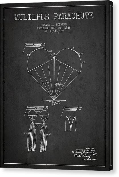 Skydiving Canvas Print - Multiple Parachute Patent From 1936 - Dark by Aged Pixel