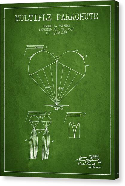 Skydiving Canvas Print - Multiple Parachute Patent From 1936 - Green by Aged Pixel
