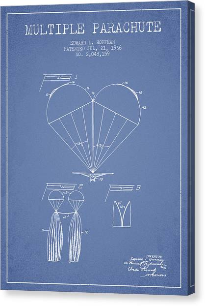 Skydiving Canvas Print - Multiple Parachute Patent From 1936 - Light Blue by Aged Pixel
