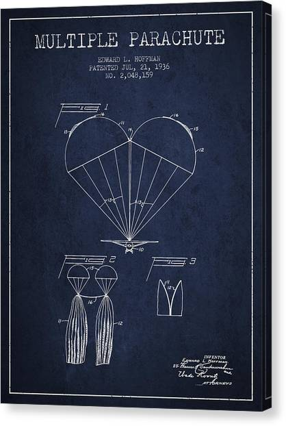 Skydiving Canvas Print - Multiple Parachute Patent From 1936 - Navy Blue by Aged Pixel