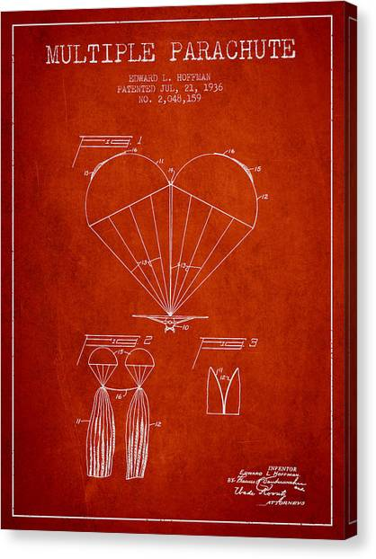 Skydiving Canvas Print - Multiple Parachute Patent From 1936 - Red by Aged Pixel