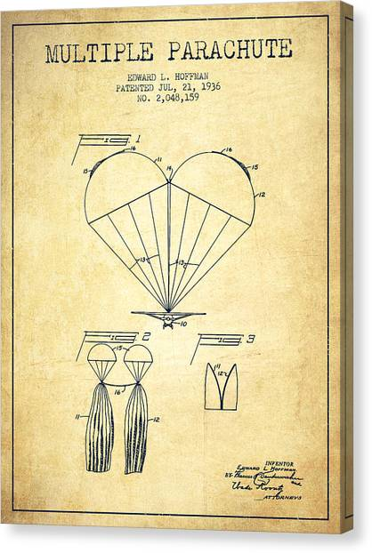 Skydiving Canvas Print - Multiple Parachute Patent From 1936 - Vintage by Aged Pixel