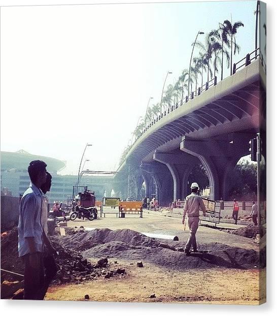 Hard Hat Canvas Print - Mumbai Airport Construction by Kody McGregor