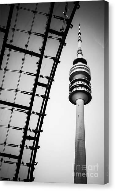 Munich - Olympiaturm And The Roof - Bw Canvas Print