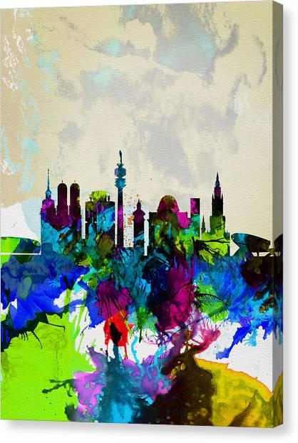 Munich Canvas Print - Munich Watercolor Skyline by Naxart Studio