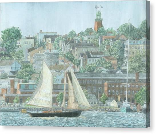 Canvas Print featuring the drawing Munjoy Hill by Dominic White