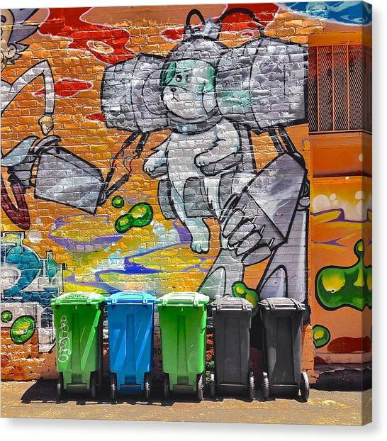 Colorful Canvas Print - Mural And Bins by Julie Gebhardt
