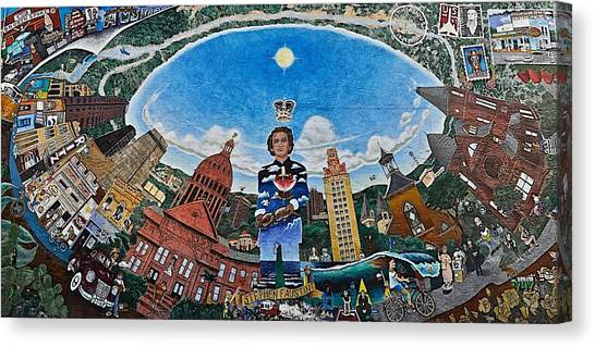 The University Of Texas Canvas Print - Mural Of Stephen F Austin Off Guadalupe by Kristina Deane