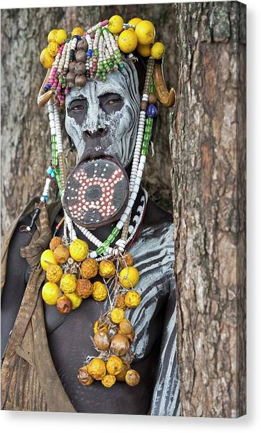 Ethiopian Woman Canvas Print - Mursi Woman With Lip Plate And Body Art by Tony Camacho