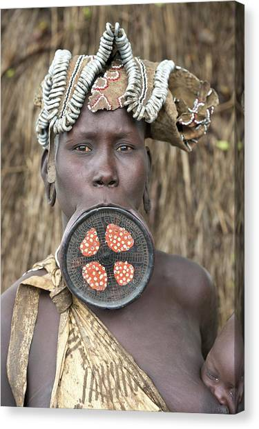 Ethiopian Woman Canvas Print - Mursi Woman With Lip Plate by Tony Camacho