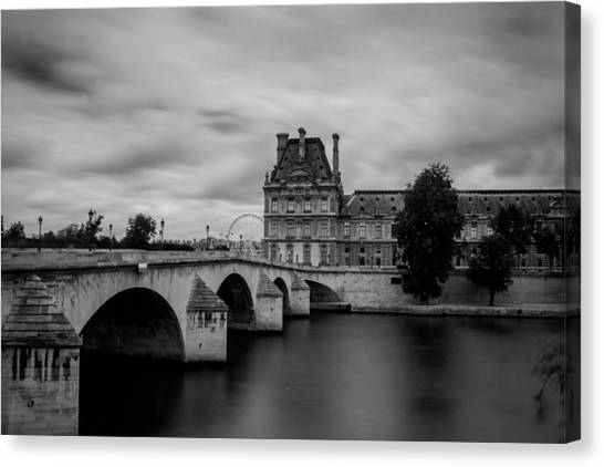 Musee Du Louvre And Pont Royal Canvas Print