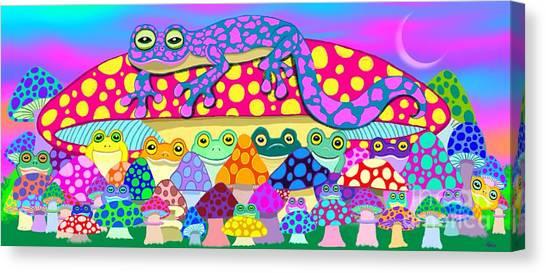 Salamanders Canvas Print - Mushroom Meadow Frogs by Nick Gustafson