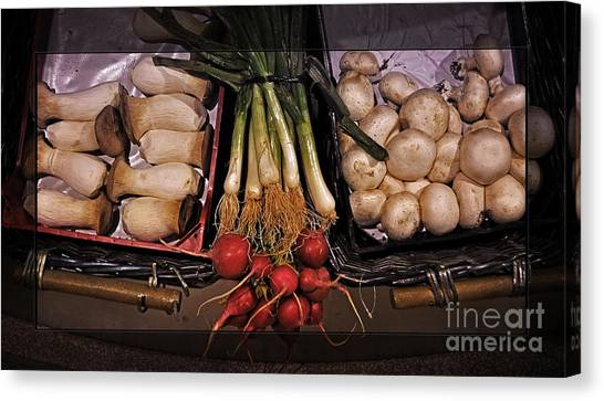 Scallions Canvas Print - Mushrooms And Radishes Framed by Mary Machare