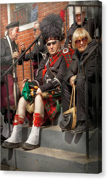 Bagpipes Canvas Print - Music - Bag Pipes - Somerville Nj - Piper Resting by Mike Savad