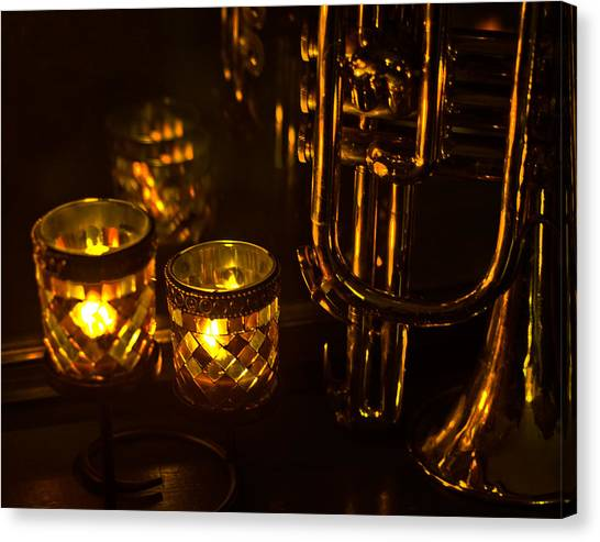 Trumpet And Candlelight Canvas Print