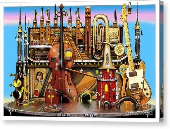 Brass Instruments Canvas Print - Music Castle by Colin Thompson