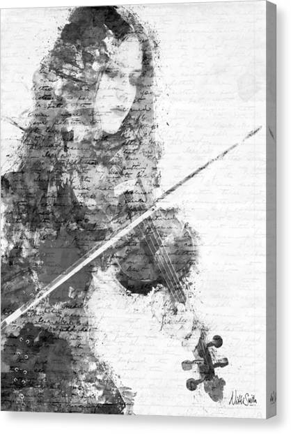 Media Canvas Print - Music In My Soul Black And White by Nikki Marie Smith