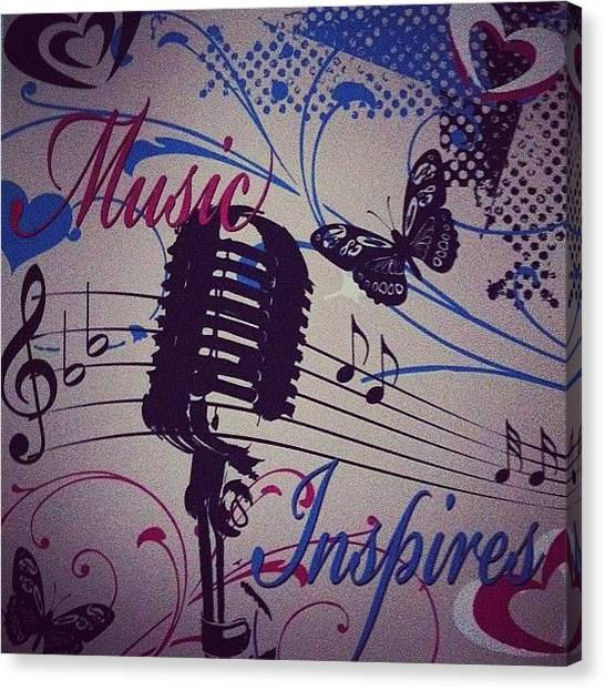 Microphones Canvas Print - #music #inspiration #butterfly #notes by Annalisa Caputi