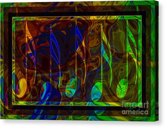 Canvas Print featuring the digital art Music Is Magical Abstract Healing Art by Omaste Witkowski
