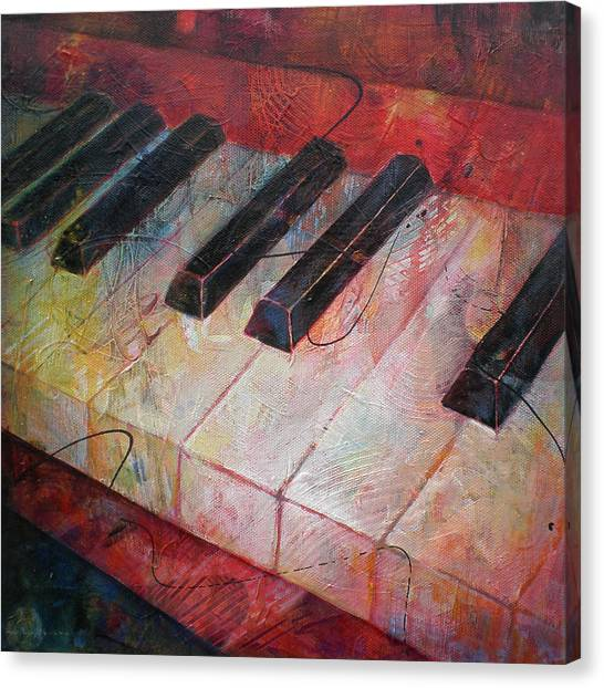 Electronic Instruments Canvas Print - Music Is The Key - Painting Of A Keyboard by Susanne Clark