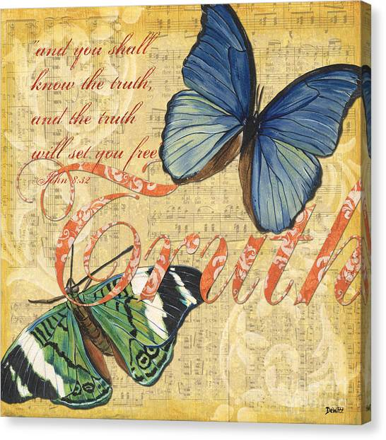 Yellow Butterfly Canvas Print - Musical Butterflies 3 by Debbie DeWitt