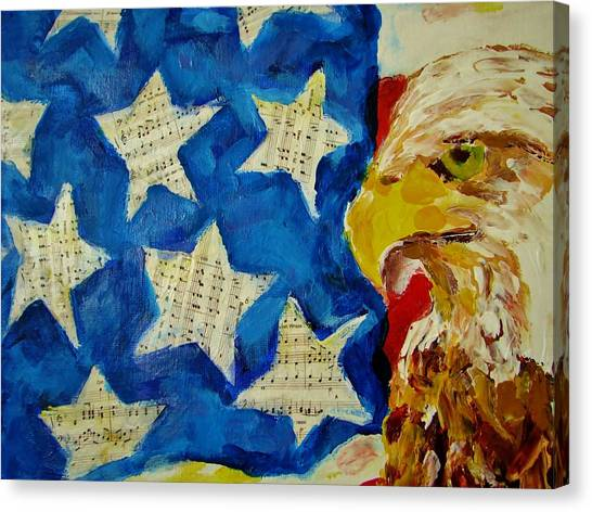 Musical Flag Stars Canvas Print by Kat Griffin