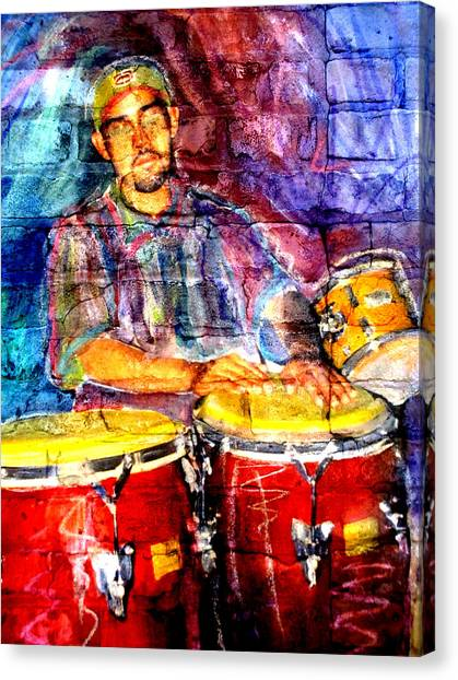 Musician Congas And Brick Canvas Print