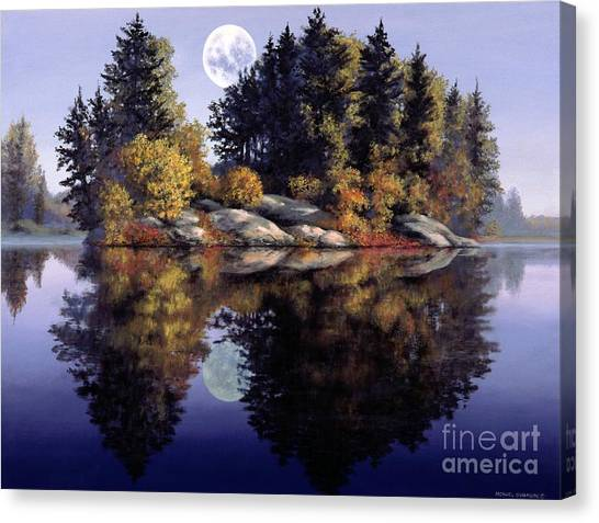 Artist Michael Swanson Canvas Print - Muskoka  Moon by Michael Swanson