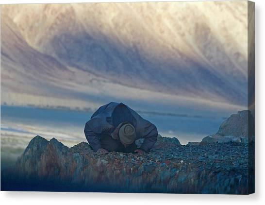 Karakoram Canvas Print - Muslim Praying Towards The West At Dusk by Keren Su