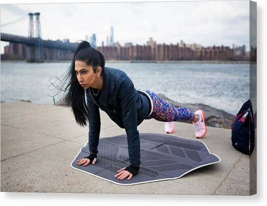 #muslimgirl Working Out Canvas Print by Muslim Girl