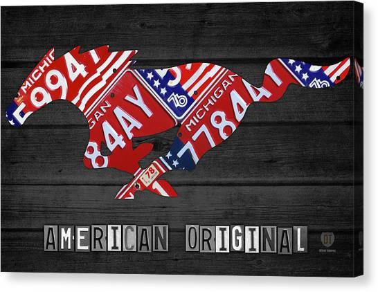 Interstates Canvas Print - Mustang An American Original License Plate Art by Design Turnpike