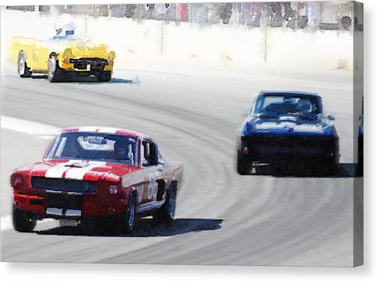 Ford Canvas Print - Mustang And Corvette Racing Watercolor by Naxart Studio
