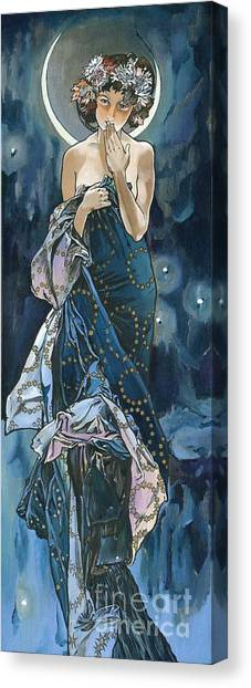 My Acrylic Painting As An Interpretation Of The Famous Artwork Of Alphonse Mucha - Moon - Canvas Print
