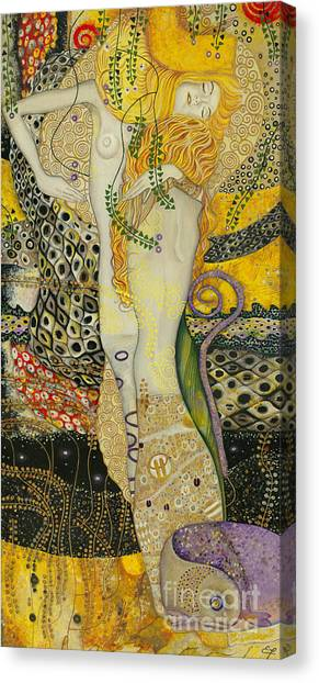My Acrylic Painting As An Interpretation Of The Famous Artwork Of Gustav Klimt - Water Serpents I Canvas Print