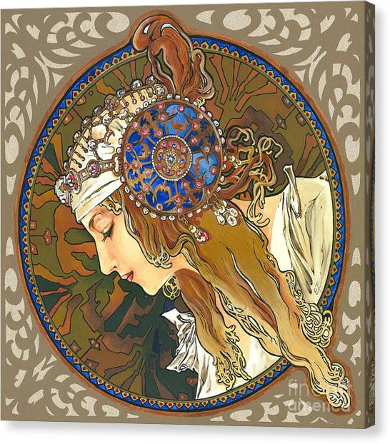 My Acrylic Painting As Interpretation Of Alphonse Mucha- Byzantine Head. The Blonde. Diagonal Frame. Canvas Print